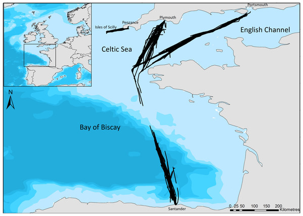 The ferry routes travelled between Plymouth—Santander—Portsmouth through the English Channel and Bay of Biscay, and from Penzance—St Mary's in the Celtic Sea.
