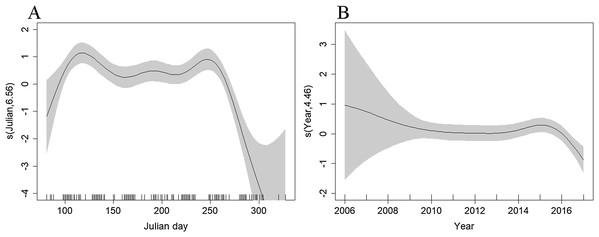 Plot of the GAM smooth fit of abundance between (A) Julian days, and (B) Years on the Scilly's route.