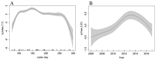 Plot of the GAM smooth fit of abundance across (A) Julian days and (B) Years in the Bay of Biscay.