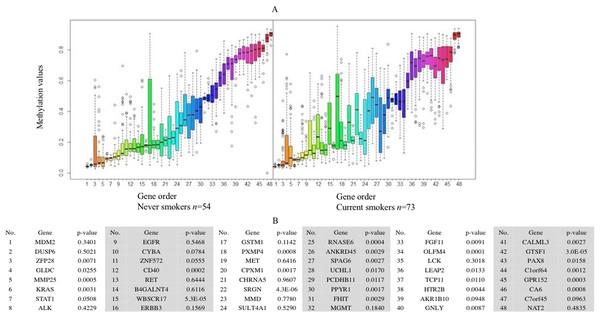 Boxplot of methylation values of ME signature genes in the TCGA dataset.
