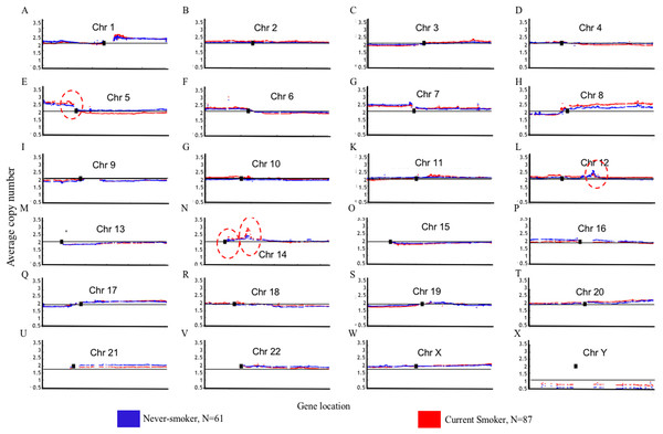 Overview of the genome mountain plot of CNV in current smokers and nonsmokers in TCGA LUAD samples.