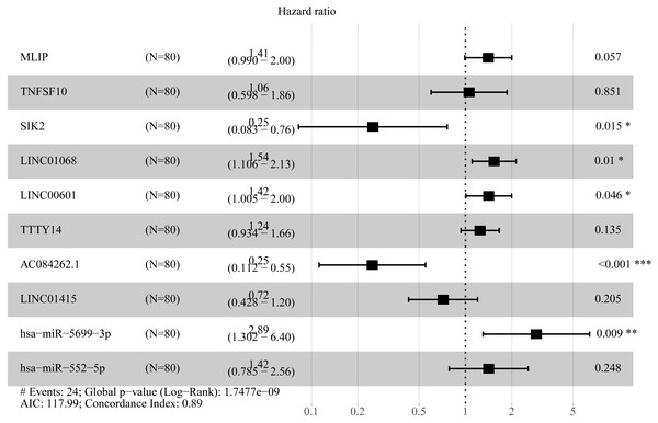 Forest plots of hazard ratios (HR) of the RNAs involved in prognostic scoring system based on multiple types of RNA.