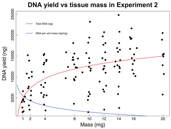 DNA yield vs tissue mass in Experiment 2.