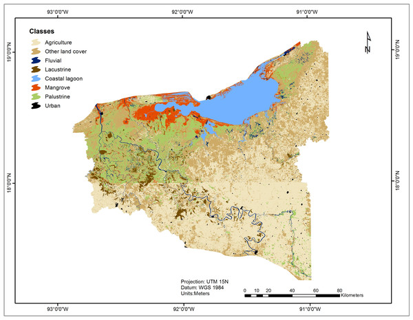 Classification of land use and land cover in the UFP from 2014 Landsat TM free imagery.