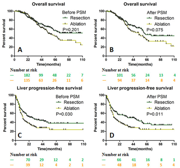 The OS and LPFS curves for patients with CLOM.