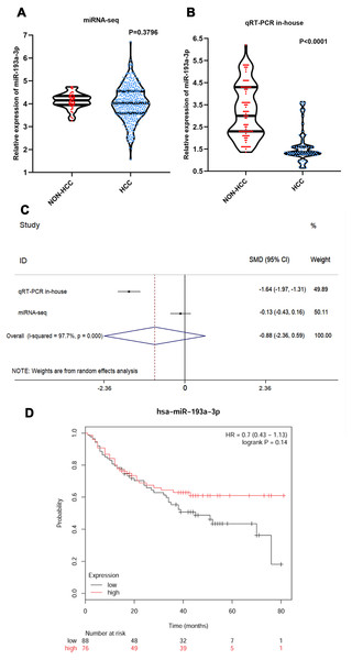 The expression of miR-193-3p and its clinical significance in HCC.