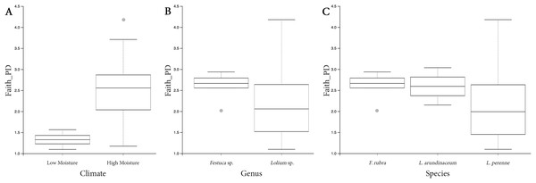 Box plots depicting the Faith's phylogenetic diversity for different climate conditions (A), different genera (B) and different species (C).