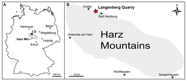 Geographic location of the Langenberg Quarry in the Harz Mountains of Germany.