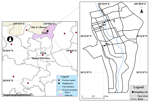 Locations of the monitoring sites and surrounding region.