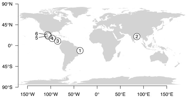 Map showing locations of data collection.