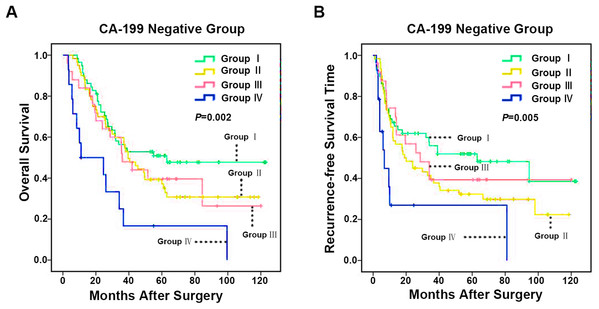 Kaplan–Meier analysis of OS and RFS in ICC with negative CA-199 based on CD86+/CD206+ TAMs.