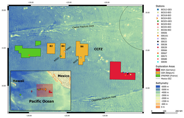 Clarion-Clipperton Fracture Zone (CCFZ) with GSR, BGR and IFREMER exploration areas, sampling sites and sampling stations of this study are highlighted.