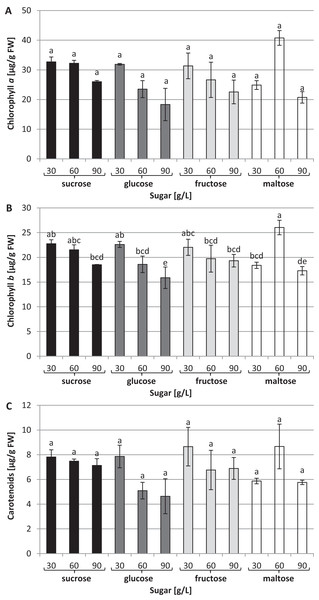 Effects of sugar type and their concentration on pigments content.