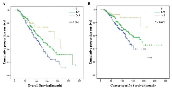 Overall survival (A) and cancer-specific survival (B) of patients in MDP-NSCLC group with different ELN 2.