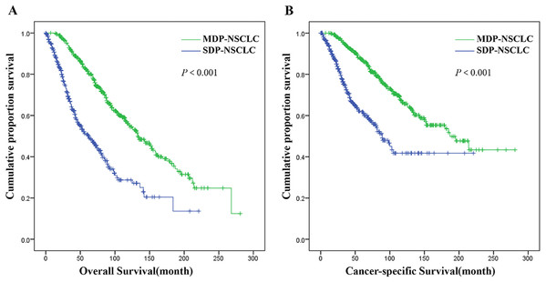 Overall survival (A) and cancer-specific survival (B) of patients in SDP-NSCLC group vs. MDP-NSCLC group.