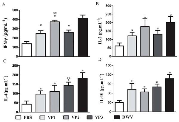 Cytokine response in sera of immunized mice.