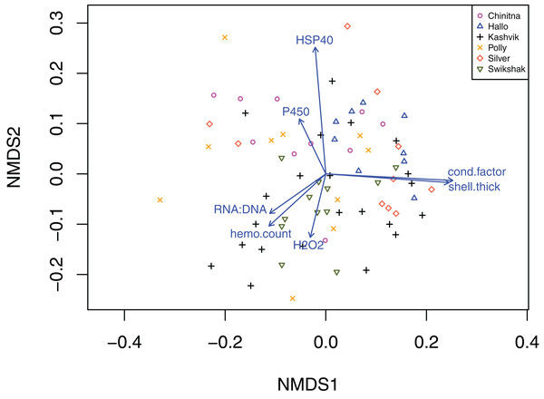 Two-dimensional non-parametric multidimensional scaling plot of the Bray–Curtis dissimilarity from physiological biomarkers.