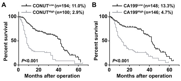 Overall survival curves for pancreatic ductal adenocarcinoma patients according to CONUT score (A) and serum CA199 level (B).