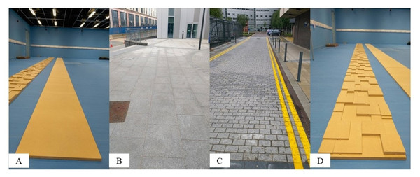 Images showing the four surfaces: (A) indoor, flat, (B) outdoor, paved (C) outdoor, cobbled and (D) indoor, uneven.