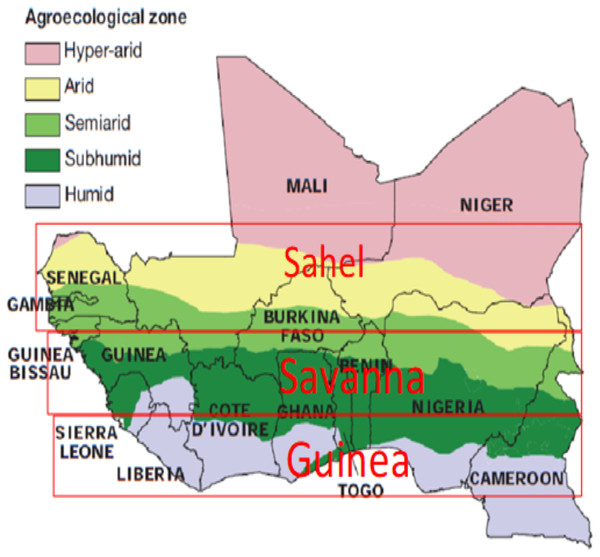 The West African Agro-Ecological Zones designated as Guinea, Savanna and Sahel respectively. Map credit: Livestock in a Changing Landscape (2010). Copyright ©2010 Scientific Committee on Problems of the Environment (SCOPE).