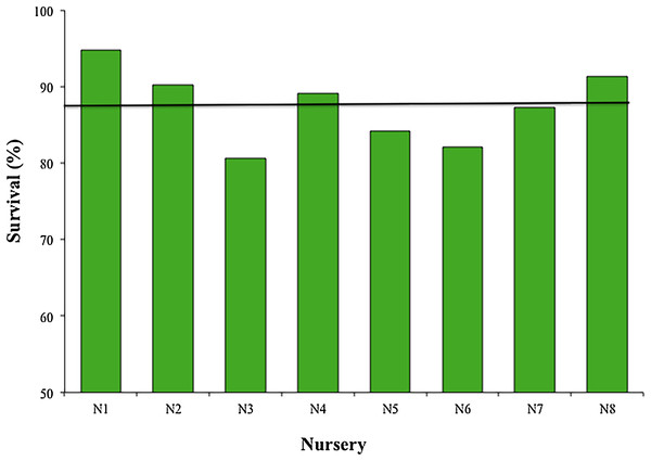 Survival percentage of Acropora cervicornis fragments in eight coral nurseries.