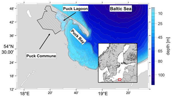 Localization of the Puck Commune and the bathymetry of the Puck Bay as a part of Gdańsk Basin.