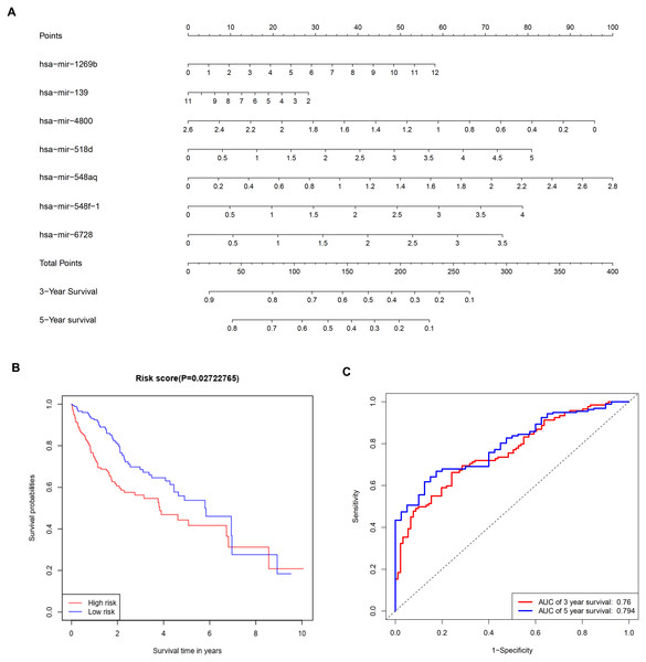 Construction of a prognostic system for HCC based on seven microRNAs (hsa-mir-1269b, hsa-mir-518d, hsa-mir-548aq, hsa-mir-548f-1, hsa-mir-6728, hsa-mir-139 and hsa-mir-4800).