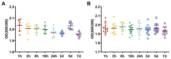 The assessment of RNA purity under different preservation durations (from 1 h to 7 days) at 4 °C.