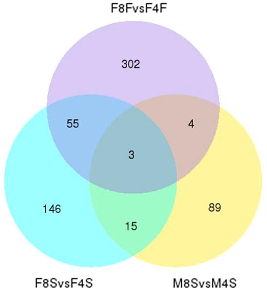 The venn plot of DEGs.