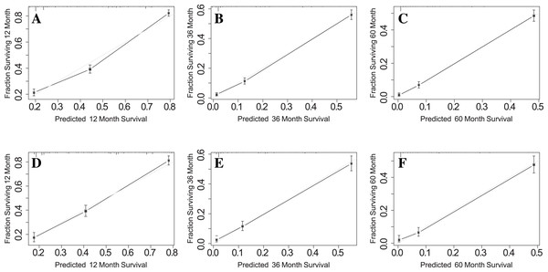 Calibration curves for 1-, 3- and 5-year OS in training set and validation set.