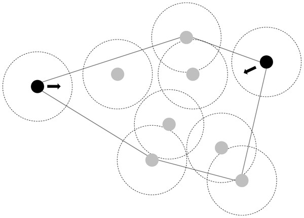 Illustration of individual movement rules of fish which could largely explain observed changes in polygon size (in response to density changes) and maintain fission-fusion dynamics.