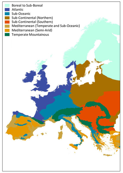 Climate zones in Europe.