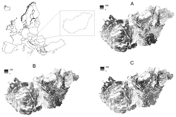 Crop-specific soil productivity in agricultural areas of Hungary.