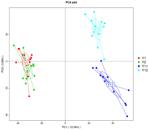 Principal component analysis (PCA) of bacterial distributions in short- and long-term monocropped peanut soils for different peanut varieties.