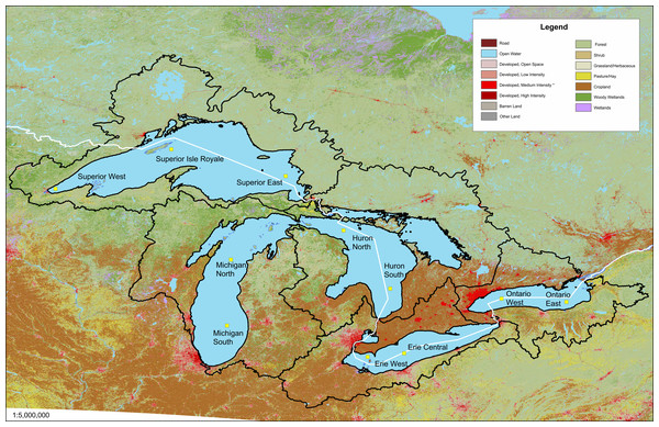 Land use map of the Great Lakes basin watershed.