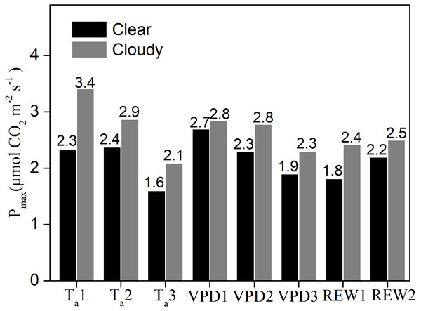 The maximum ecosystem photosynthesis Pmax under different environment conditions.