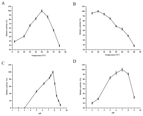 Optimum determination value and effects of temperature and pH on the protease activity of YgjD.