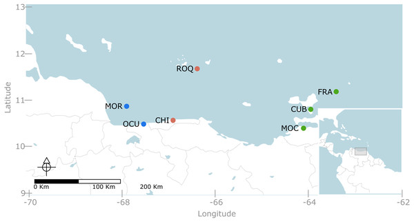 Map of the Venezuelan coast with the seven locations used in this study.