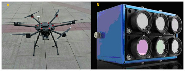 (A) M600 unmanned aerial vehicle; (B) micro-MCA multispectral sensor.