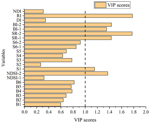 VIP score of variables for SSC estimation.