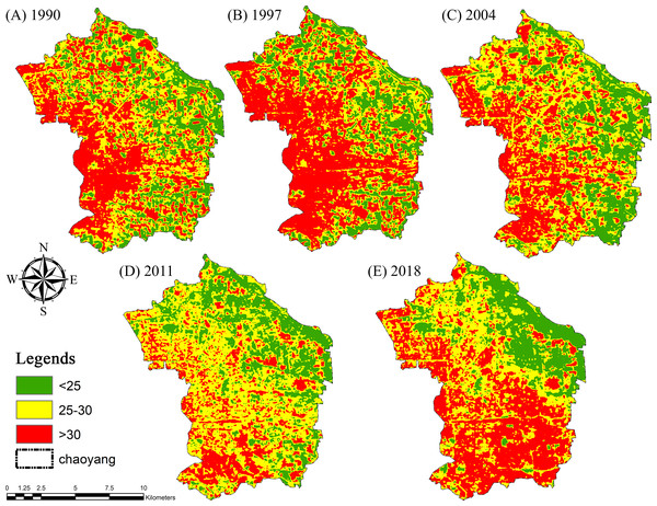 Land surface temperature (LST) maps for (A) 1990, (B) 1997, (C) 2004, (D) 2011 and (E) 2018 of Chaoyang, Beijing.