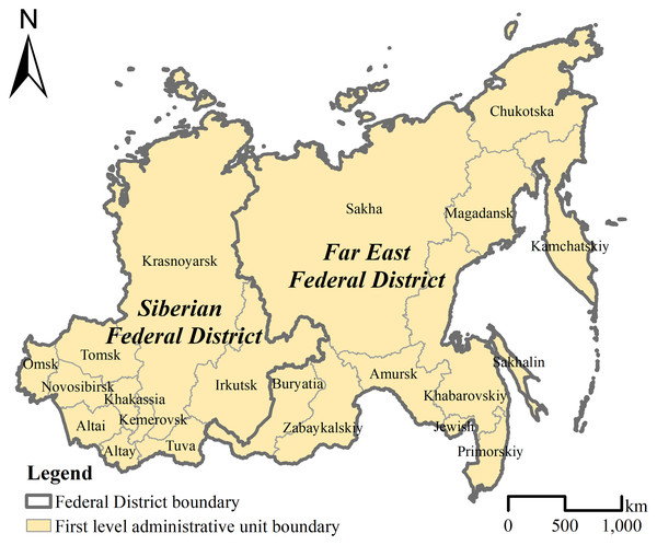 Administrative division of the Siberian and Far East Federal Districts.