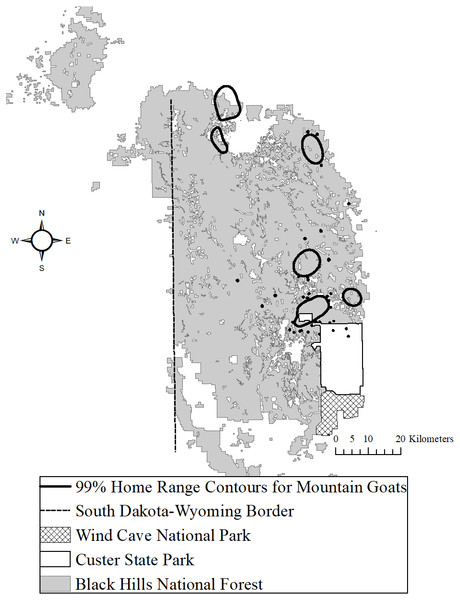 The Black Hills, South Dakota study area where we studied mountain goats, 2006–2018.
