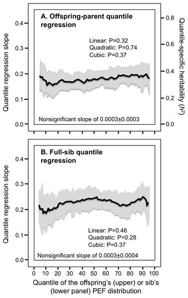 Offspring-parent and full-sib quantile regression slopes for peak expiratory flow (PEF).