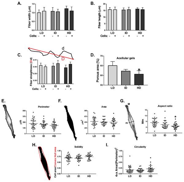 Analysis of individual shape descriptors of Col-I fibers and MDA-MB-231 cells.