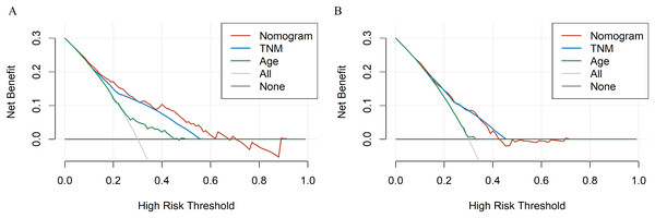 The DCA curves of the nomogram compared with prognosis based on TNM staging.