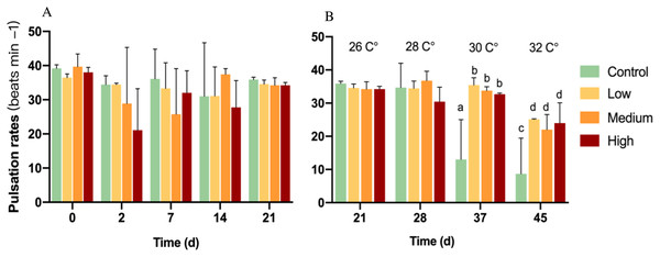 Pulsation rates of corals at different glucose concentrations during the experiment.