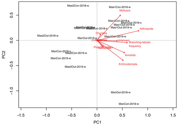 Principal Component Analyses biplot showing correlation between rubble shape and animal abundance at different locations.