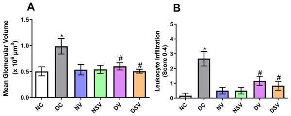 Effect of valsartan and LCZ696 on renal glomerular volume (A) and leukocyte infiltration score (B) in STZ-induced diabetic rats.