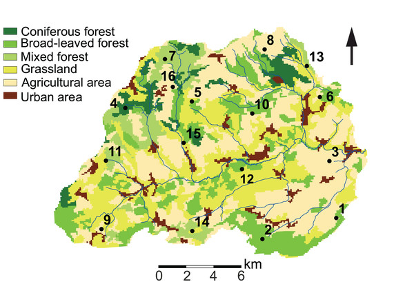 Land use characteristics of the Attert River basin in Luxembourg and Belgium.